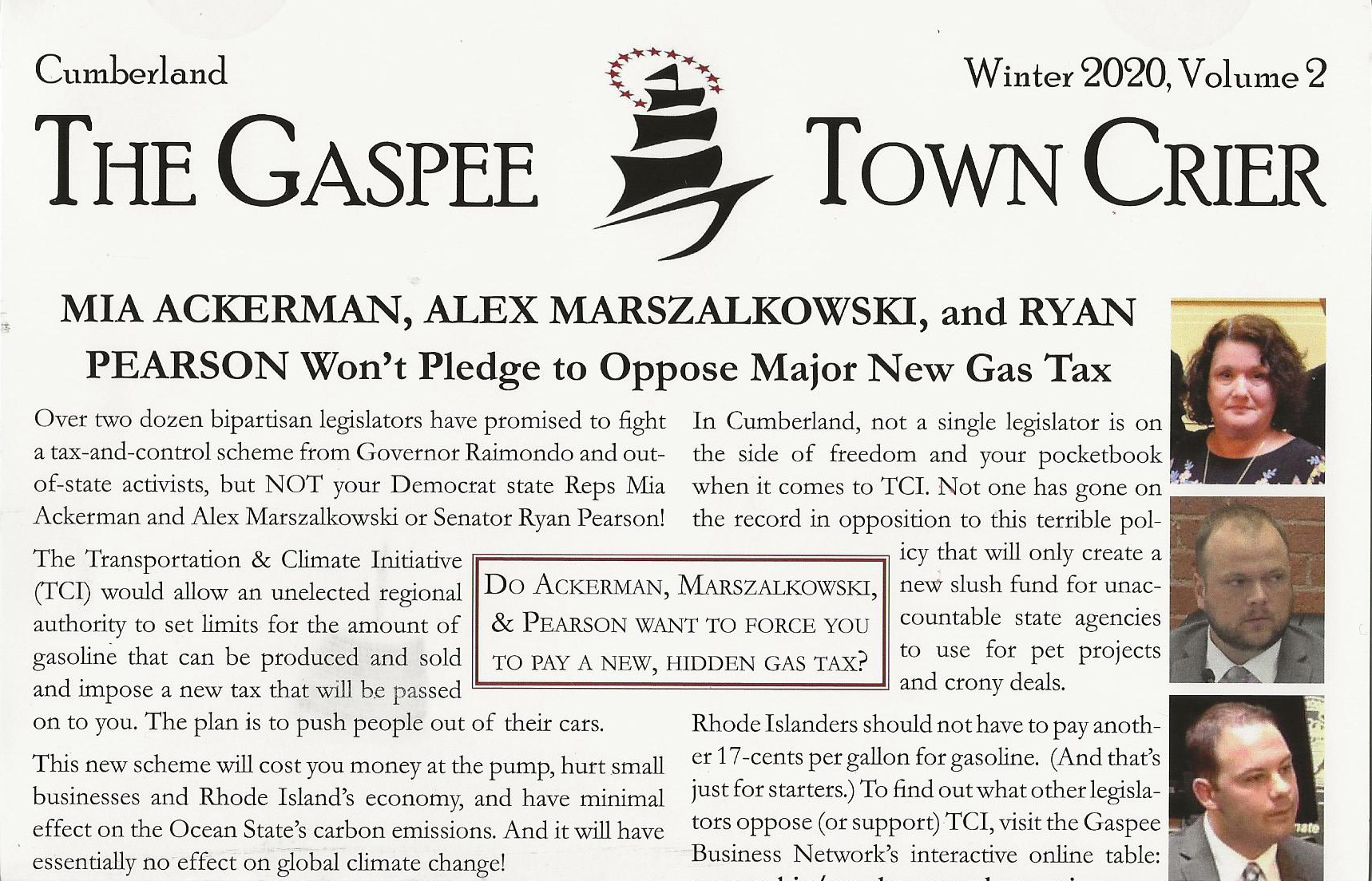 Gaspee Project Strikes Again:  Mia Ackerman, Alex Marszalkowski, and Ryan Pearson want your gas prices to go up
