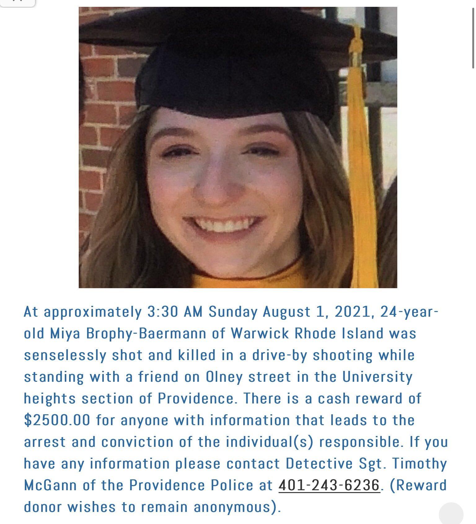 Reward now $5,000 to find Miya Brophy-Baermann's murderer